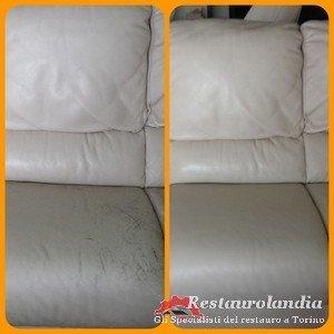 restauro divano in pelle graffiato