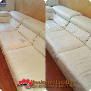 riparazione divano in pelle beige
