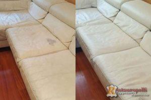 Restauro divano in pelle scolorito