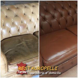 Riparazione divano, cambio colore pelle